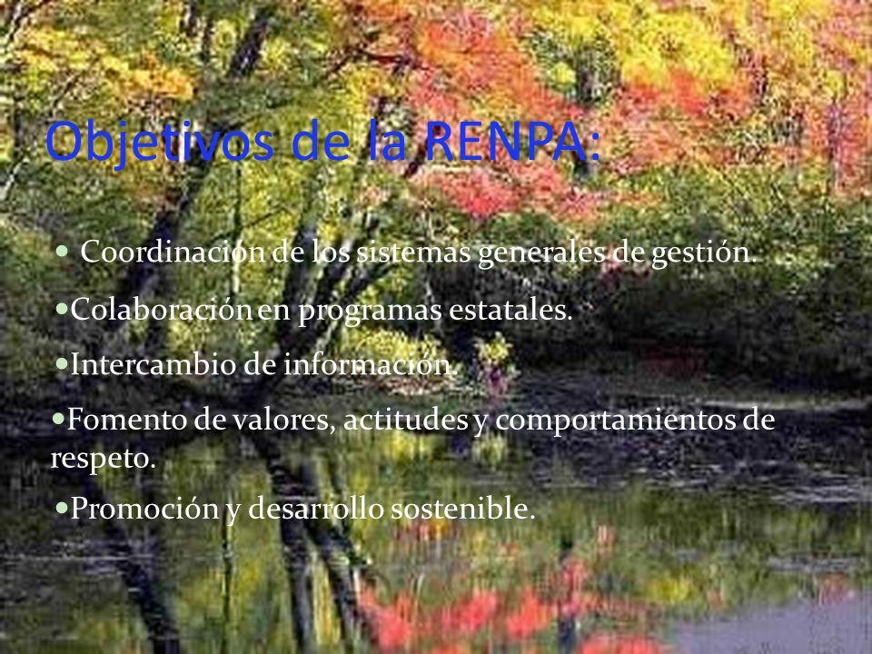 Objetivos de la RENPA: Coordinación de los sistemas generales de gestión. Colaboración en programas estatales. Intercambio de información. Fomento de