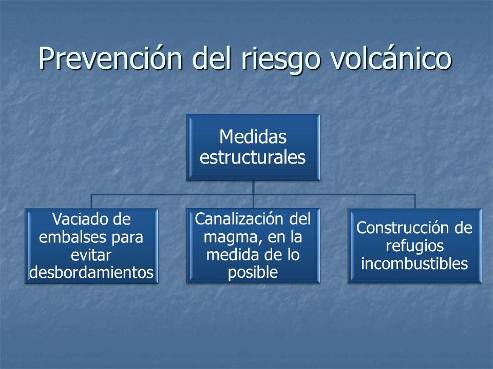 Prevención del riesgo volcánico Medidas estructurales Vaciado de embalses para evitar desbordamientos Canalización del magma, en la medida de lo posible Construcción de refugios incombustibles