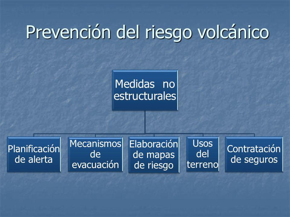Prevención del riesgo volcánico Medidas no estructurales Planificación de alerta Mecanismos de evacuación Elaboración de mapas de riesgo Usos del terreno Contratación de seguros