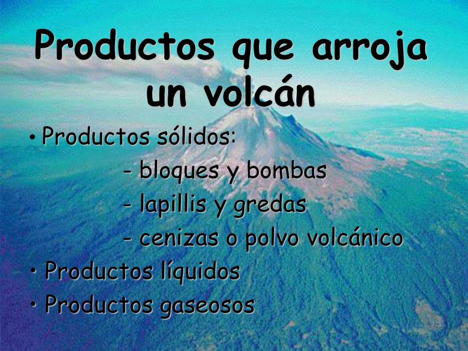Productos que arroja un volcán Productos sólidos: - bloques y bombas - lapillis y gredas - cenizas o polvo volcánico Productos líquidos Productos líqu