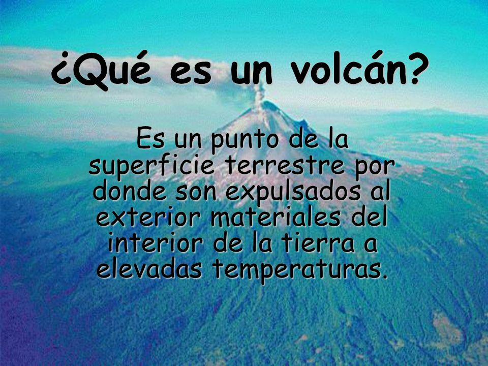 ¿Qué es un volcán? Es un punto de la superficie terrestre por donde son expulsados al exterior materiales del interior de la tierra a elevadas tempera