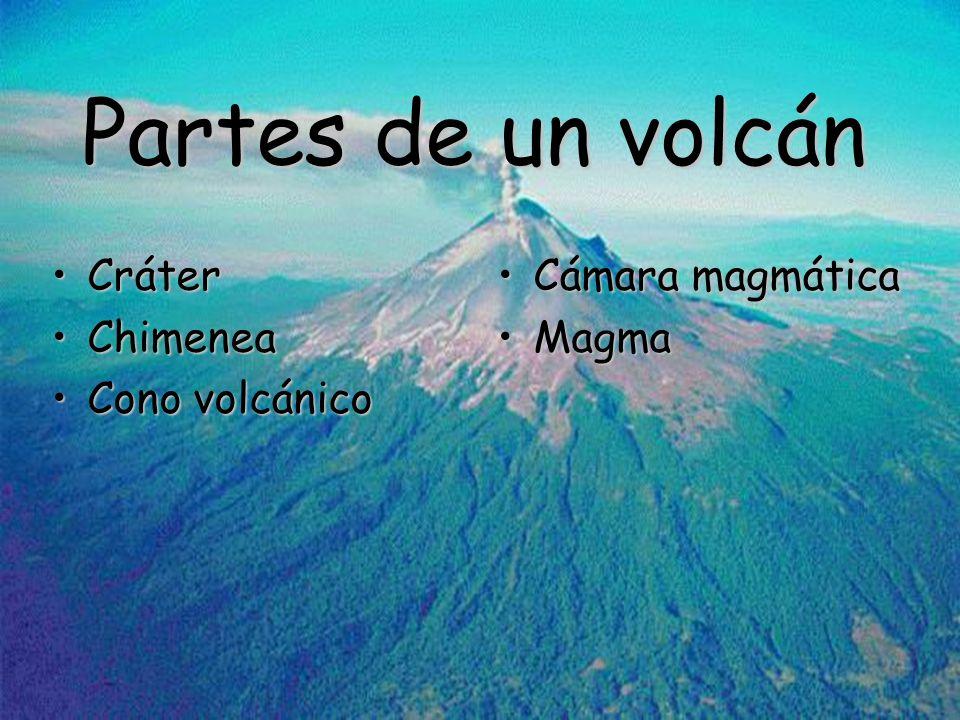 Partes de un volcán CráterCráter ChimeneaChimenea Cono volcánicoCono volcánico Cámara magmáticaCámara magmática MagmaMagma