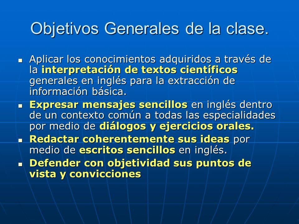 Aplicar los conocimientos adquiridos a través de la interpretación de textos científicos generales en inglés para la extracción de información básica.
