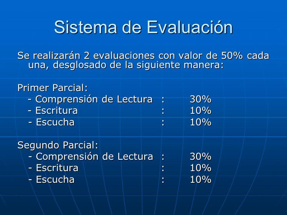 Sistema de Evaluación Se realizarán 2 evaluaciones con valor de 50% cada una, desglosado de la siguiente manera: Primer Parcial: - Comprensión de Lect