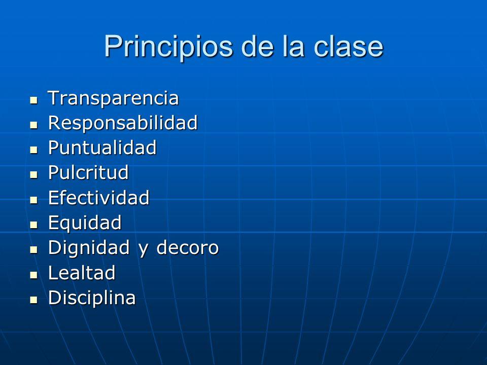 Principios de la clase Transparencia Transparencia Responsabilidad Responsabilidad Puntualidad Puntualidad Pulcritud Pulcritud Efectividad Efectividad