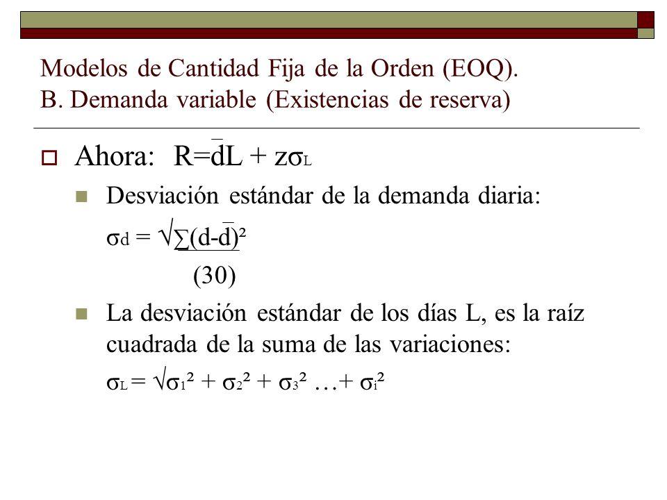 Ahora:R=dL + zσ L Desviación estándar de la demanda diaria: σ d = (d-d)² (30) La desviación estándar de los días L, es la raíz cuadrada de la suma de