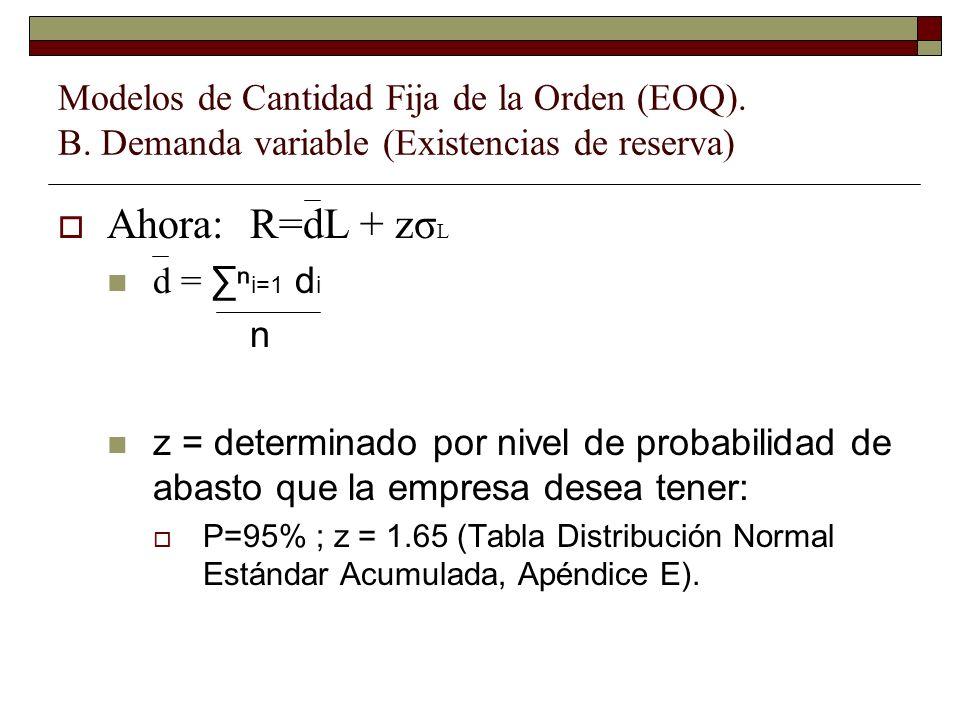 Ahora:R=dL + zσ L d = i=1 d i n z = determinado por nivel de probabilidad de abasto que la empresa desea tener: P=95% ; z = 1.65 (Tabla Distribución N