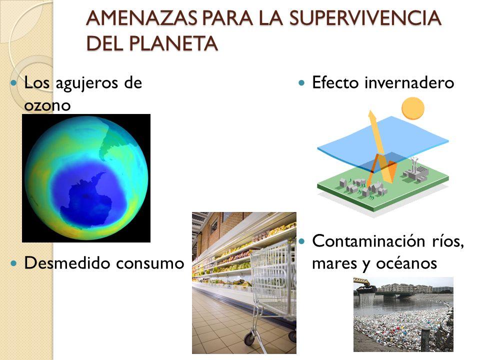 AMENAZAS PARA LA SUPERVIVENCIA DEL PLANETA Los agujeros de ozono Desmedido consumo Efecto invernadero Contaminación ríos, mares y océanos