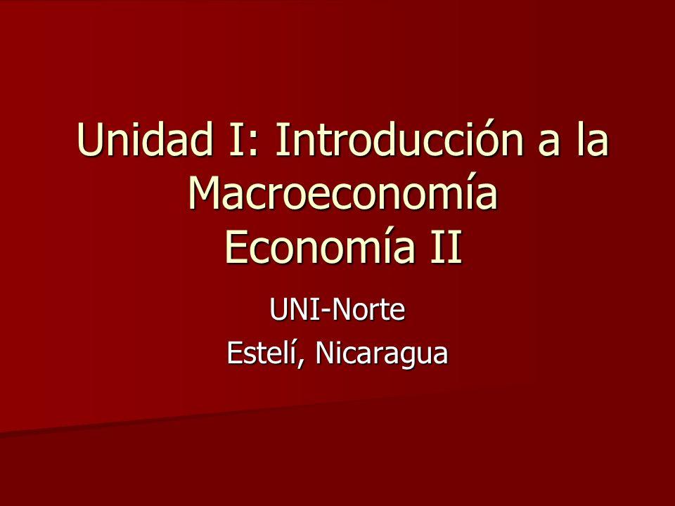 Unidad I: Introducción a la Macroeconomía Economía II UNI-Norte Estelí, Nicaragua