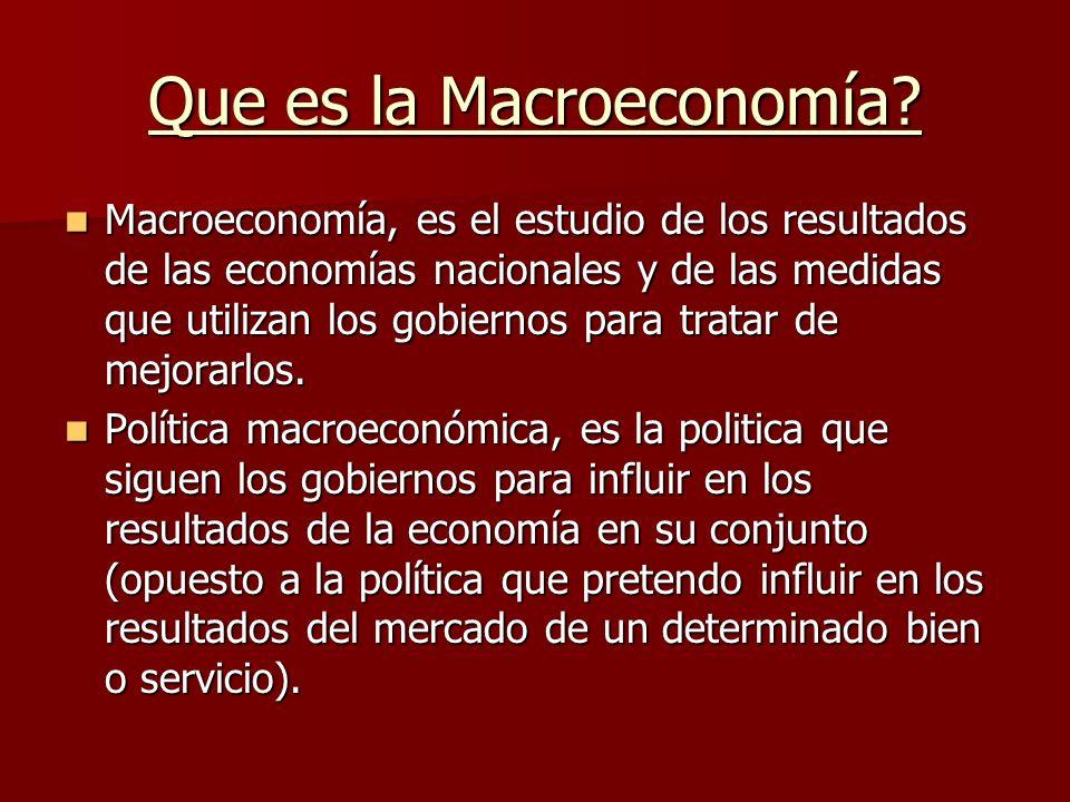 Que es la Macroeconomía? Macroeconomía, es el estudio de los resultados de las economías nacionales y de las medidas que utilizan los gobiernos para t