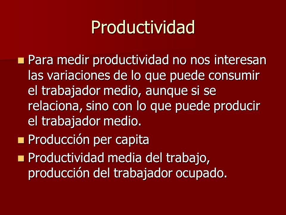 Productividad Para medir productividad no nos interesan las variaciones de lo que puede consumir el trabajador medio, aunque si se relaciona, sino con