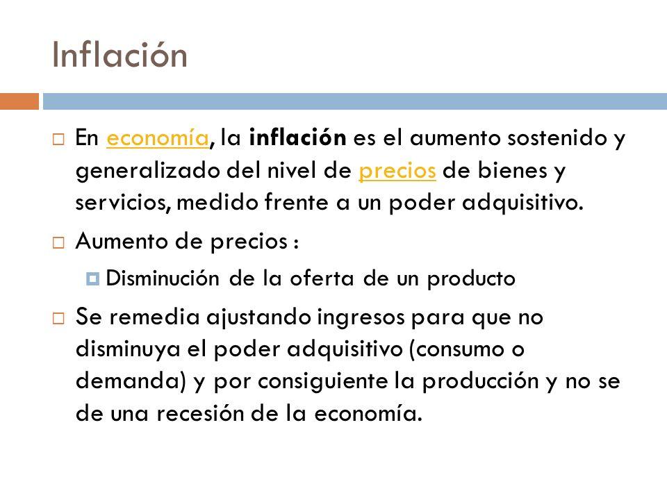 Inflación En economía, la inflación es el aumento sostenido y generalizado del nivel de precios de bienes y servicios, medido frente a un poder adquis