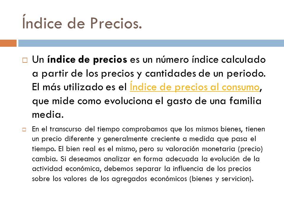 Un índice de precios es un número índice calculado a partir de los precios y cantidades de un periodo. El más utilizado es el Índice de precios al con