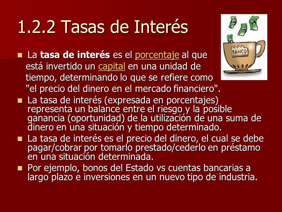 1.2.2 Tasas de Interés La tasa de interés es el porcentaje al que La tasa de interés es el porcentaje al queporcentaje está invertido un capital en un
