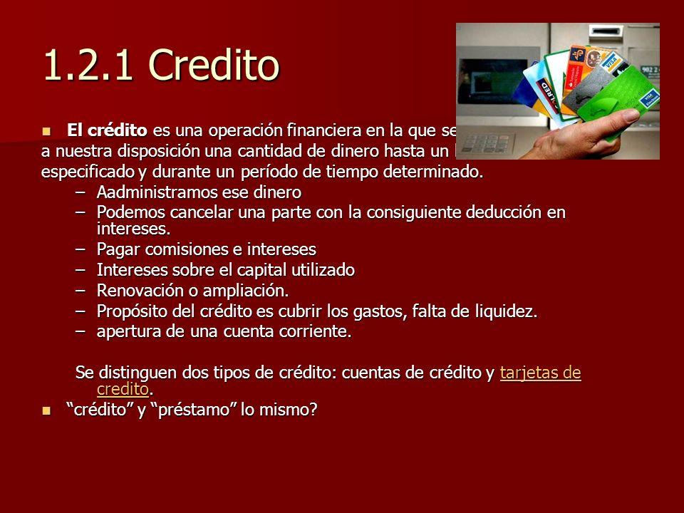1.2.1 Credito El crédito es una operación financiera en la que se pone El crédito es una operación financiera en la que se pone a nuestra disposición