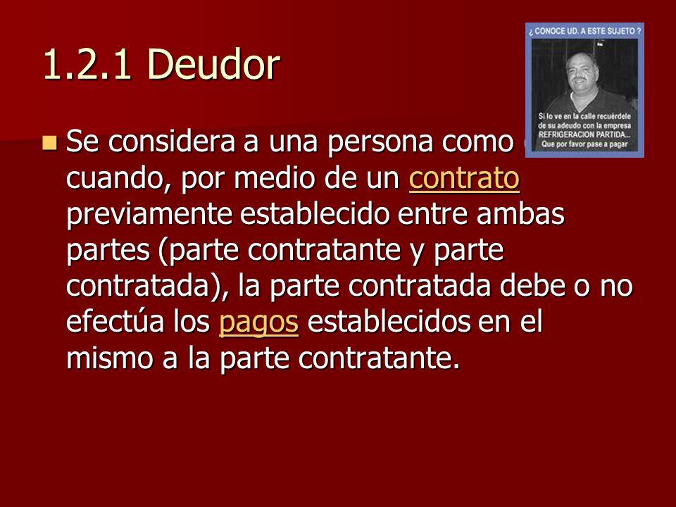 1.2.1 Deudor Se considera a una persona como deudor cuando, por medio de un contrato previamente establecido entre ambas partes (parte contratante y p