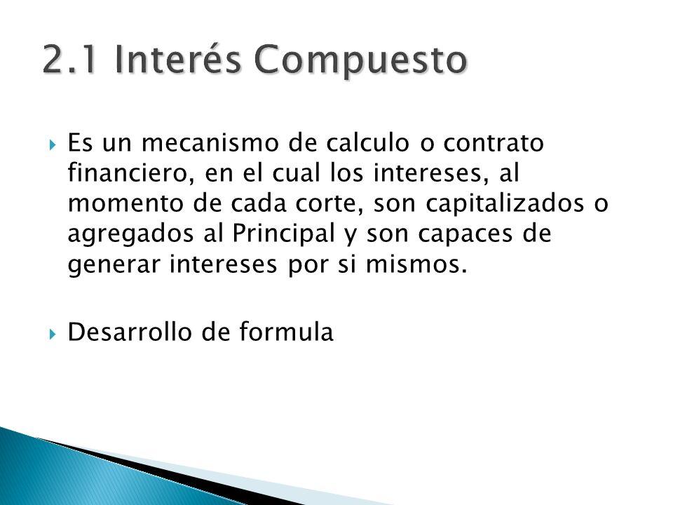 Es un mecanismo de calculo o contrato financiero, en el cual los intereses, al momento de cada corte, son capitalizados o agregados al Principal y son