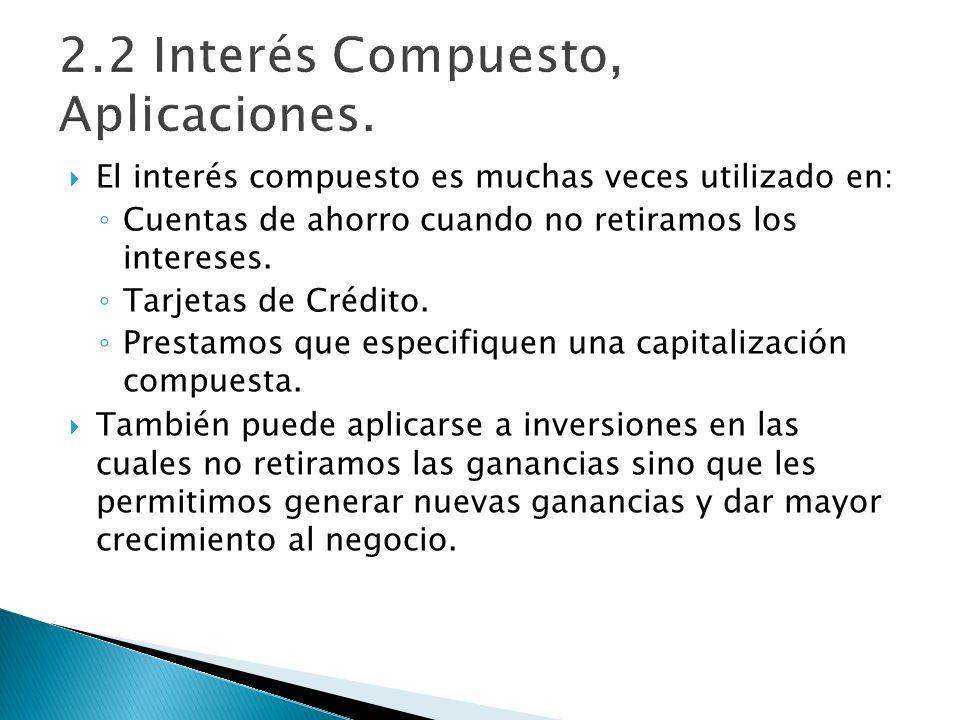 El interés compuesto es muchas veces utilizado en: Cuentas de ahorro cuando no retiramos los intereses. Tarjetas de Crédito. Prestamos que especifique