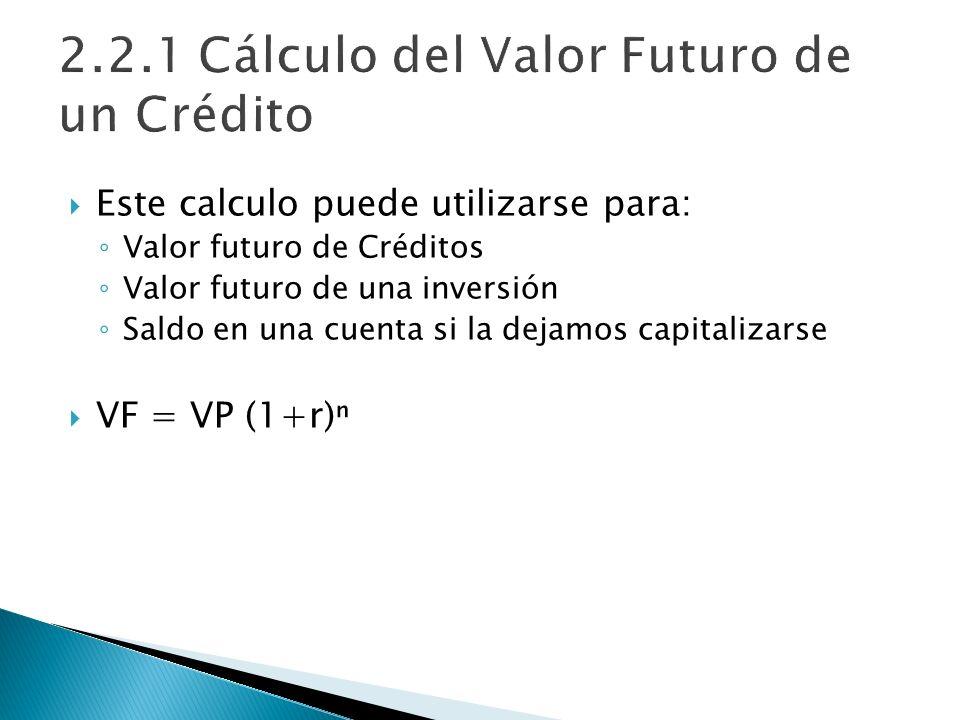 Este calculo puede utilizarse para: Valor futuro de Créditos Valor futuro de una inversión Saldo en una cuenta si la dejamos capitalizarse VF = VP (1+