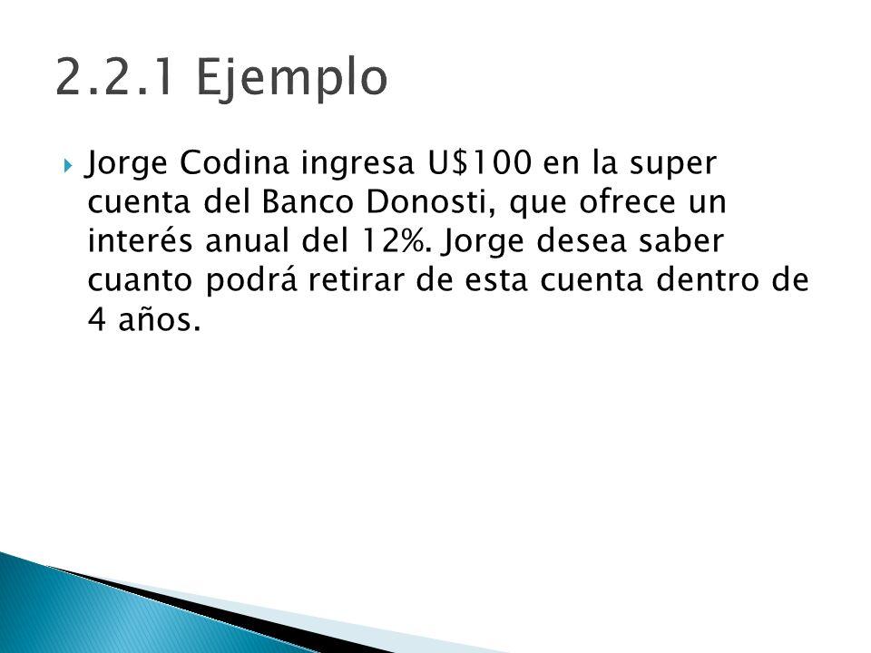 Jorge Codina ingresa U$100 en la super cuenta del Banco Donosti, que ofrece un interés anual del 12%. Jorge desea saber cuanto podrá retirar de esta c