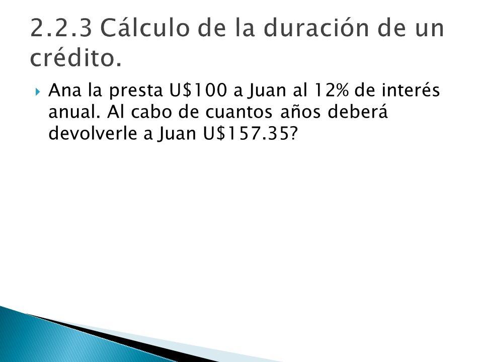 Ana la presta U$100 a Juan al 12% de interés anual. Al cabo de cuantos años deberá devolverle a Juan U$157.35?