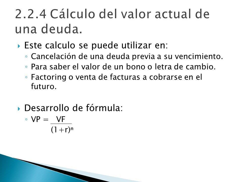 Este calculo se puede utilizar en: Cancelación de una deuda previa a su vencimiento. Para saber el valor de un bono o letra de cambio. Factoring o ven