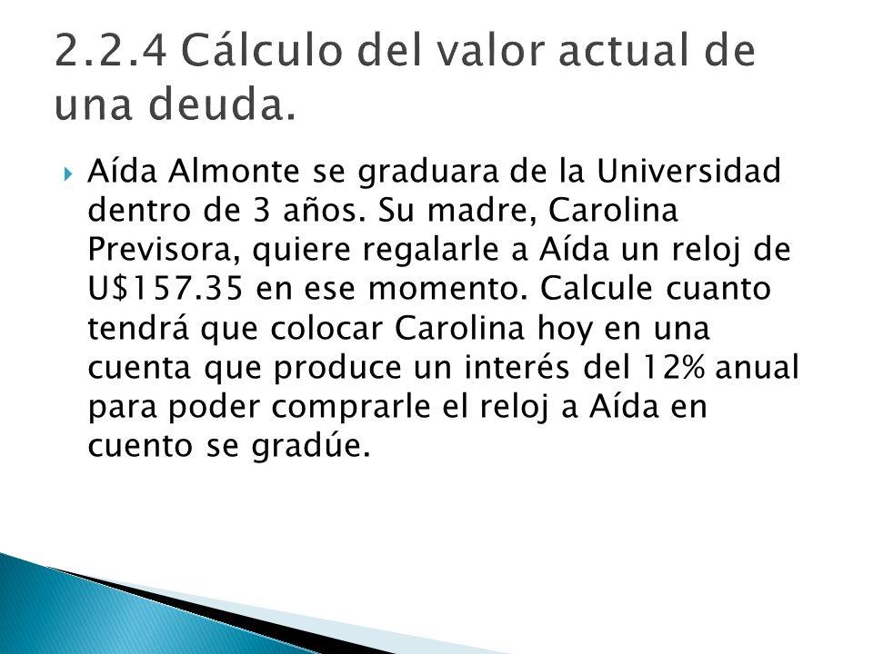 Aída Almonte se graduara de la Universidad dentro de 3 años. Su madre, Carolina Previsora, quiere regalarle a Aída un reloj de U$157.35 en ese momento