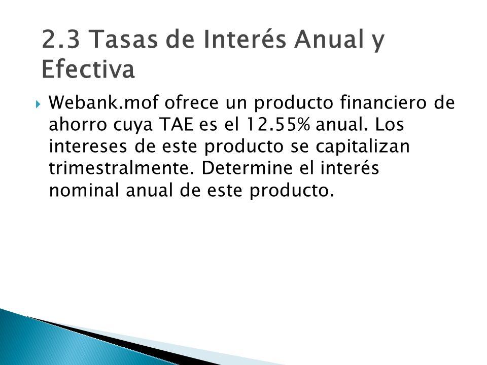 Webank.mof ofrece un producto financiero de ahorro cuya TAE es el 12.55% anual. Los intereses de este producto se capitalizan trimestralmente. Determi