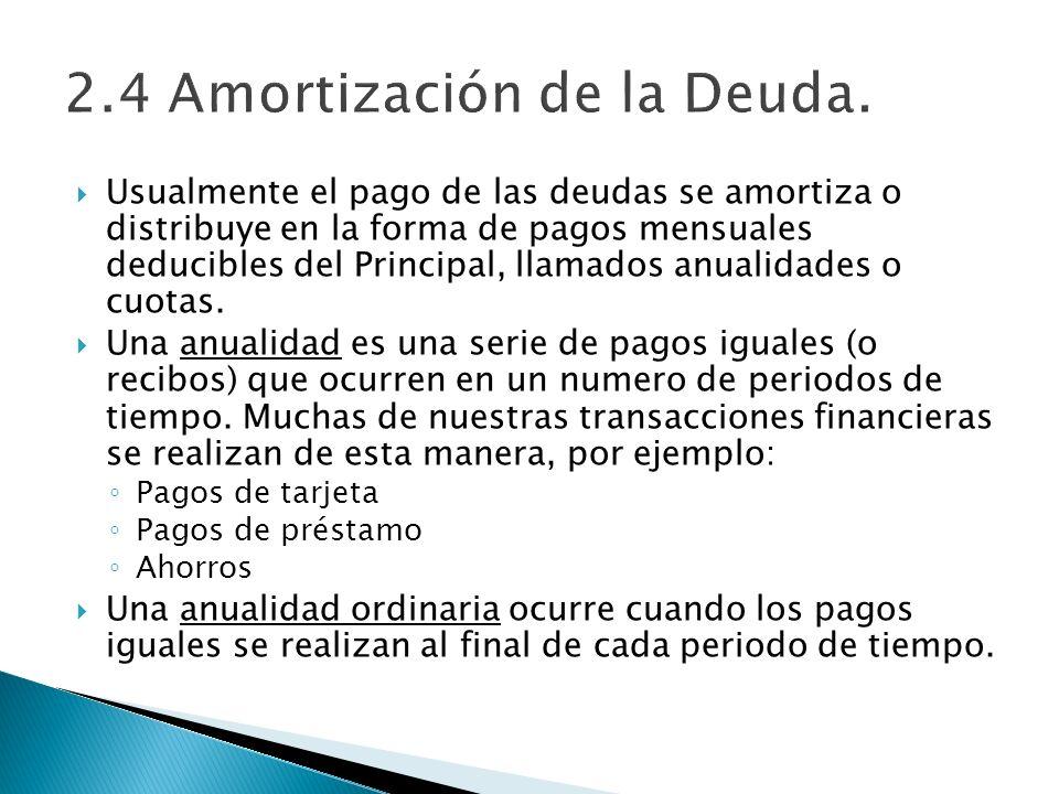 Usualmente el pago de las deudas se amortiza o distribuye en la forma de pagos mensuales deducibles del Principal, llamados anualidades o cuotas. Una
