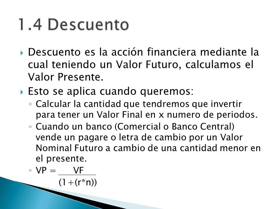 Descuento es la acción financiera mediante la cual teniendo un Valor Futuro, calculamos el Valor Presente. Esto se aplica cuando queremos: Calcular la