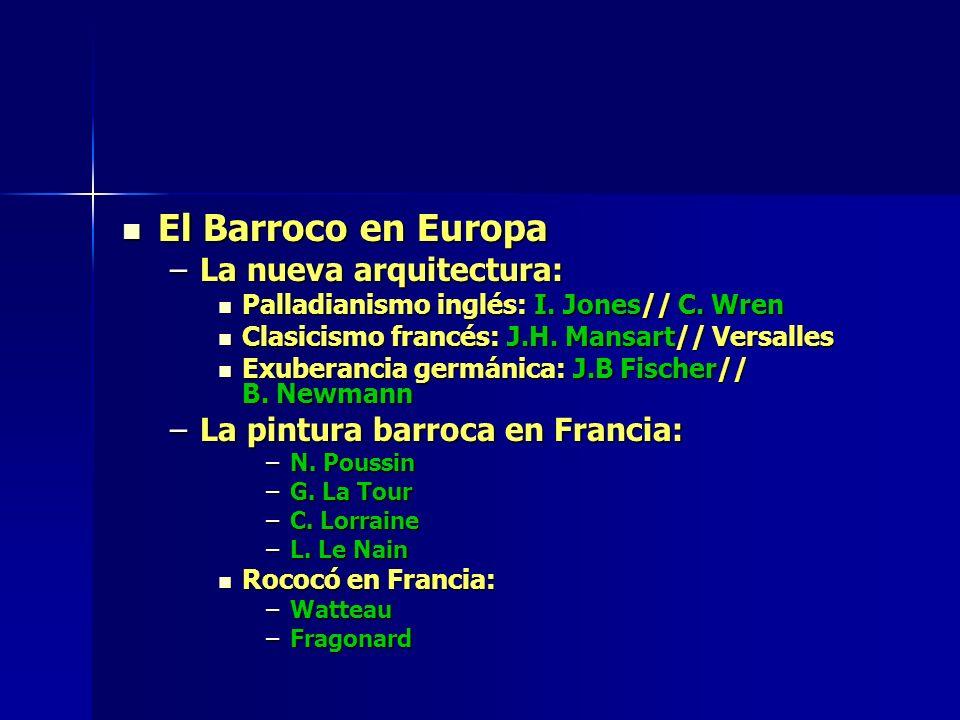 El Barroco en Europa El Barroco en Europa –La nueva arquitectura: Palladianismo inglés: I. Jones// C. Wren Palladianismo inglés: I. Jones// C. Wren Cl