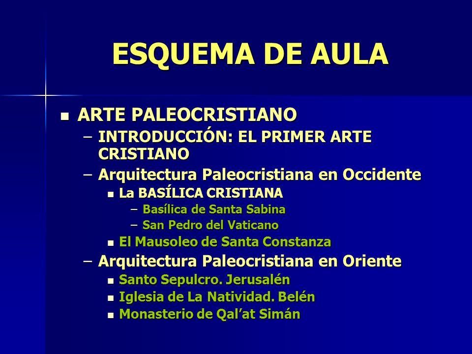 ESQUEMA DE AULA ARTE PALEOCRISTIANO ARTE PALEOCRISTIANO –INTRODUCCIÓN: EL PRIMER ARTE CRISTIANO –Arquitectura Paleocristiana en Occidente La BASÍLICA