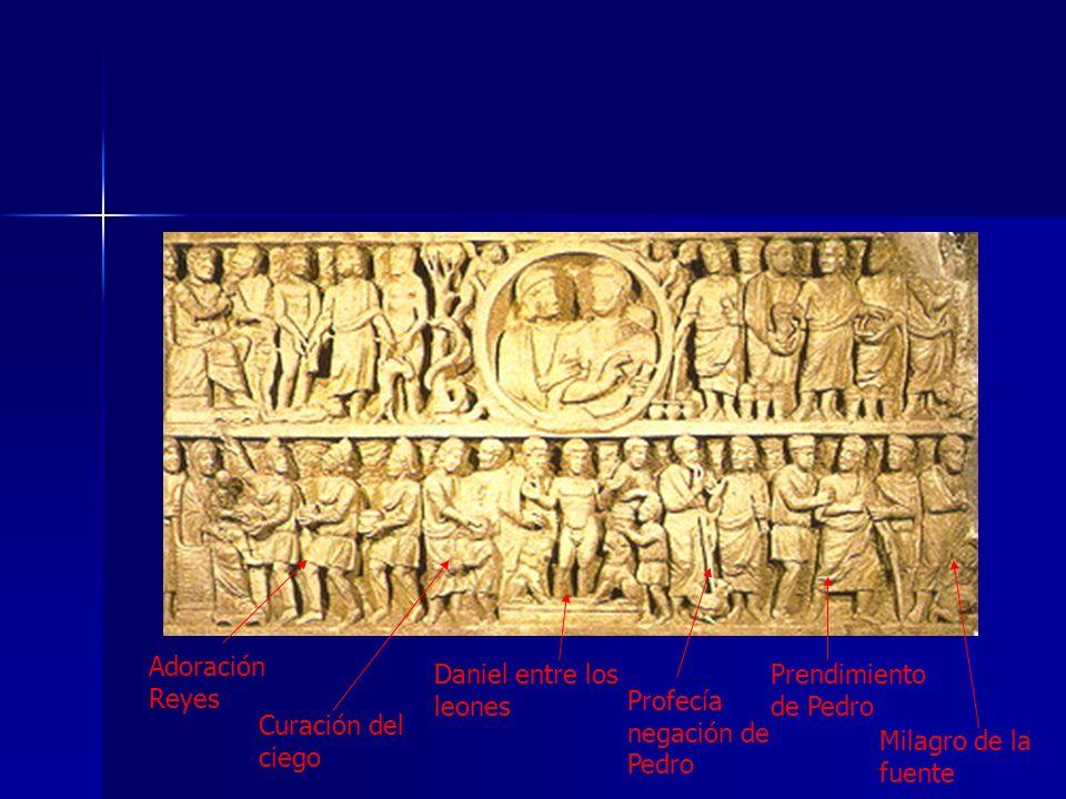 Adoración Reyes Curación del ciego Daniel entre los leones Profecía negación de Pedro Prendimiento de Pedro Milagro de la fuente