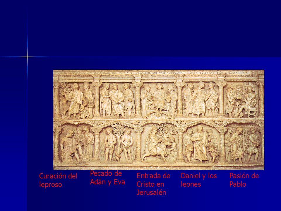 Curación del leproso Pecado de Adán y Eva Entrada de Cristo en Jerusalén Daniel y los leones Pasión de Pablo