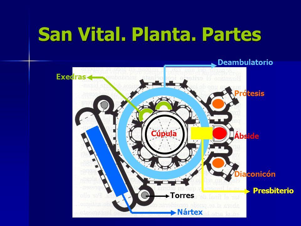 San Vital. Planta. Partes Deambulatorio Nártex Prótesis Diaconicón Ábside Torres Exedras Presbiterio Cúpula