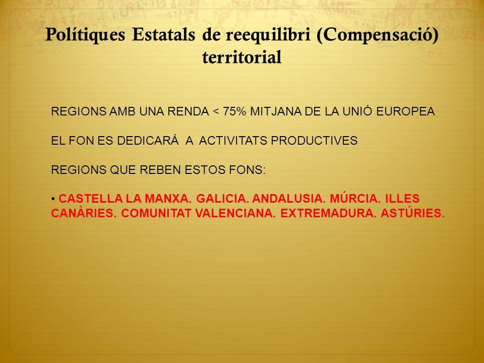 Polítiques Estatals de reequilibri (Compensació) territorial REGIONS AMB UNA RENDA < 75% MITJANA DE LA UNIÓ EUROPEA EL FON ES DEDICARÁ A ACTIVITATS PR