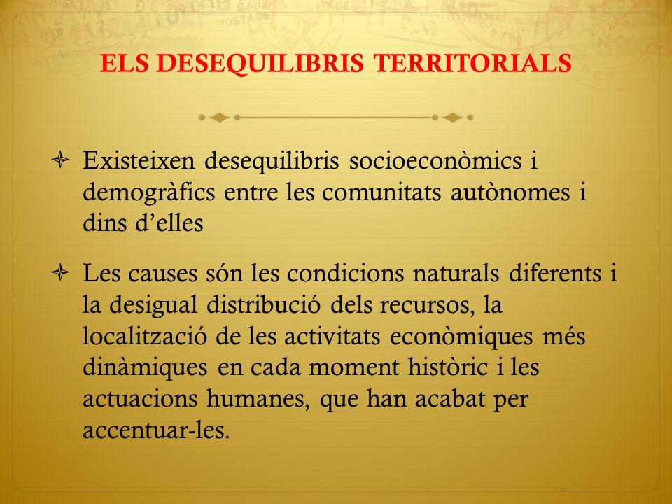 ELS DESEQUILIBRIS TERRITORIALS Existeixen desequilibris socioeconòmics i demogràfics entre les comunitats autònomes i dins delles Les causes són les c