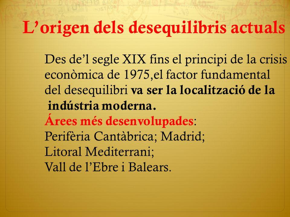 Lorigen dels desequilibris actuals Des del segle XIX fins el principi de la crisis econòmica de 1975,el factor fundamental del desequilibri va ser la