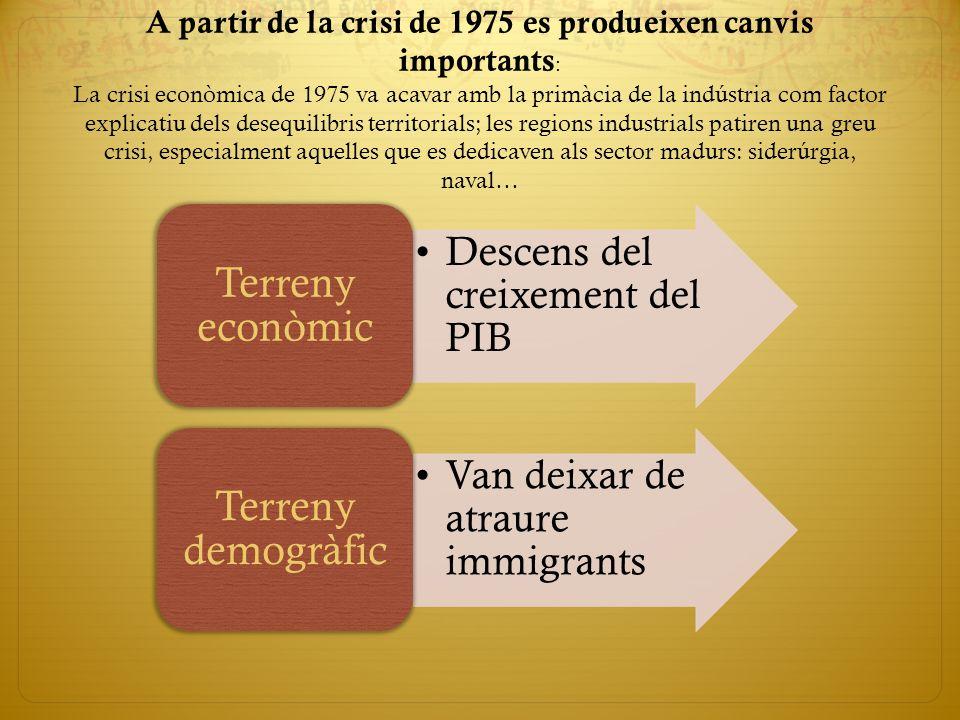 A partir de la crisi de 1975 es produeixen canvis importants : La crisi econòmica de 1975 va acavar amb la primàcia de la indústria com factor explica