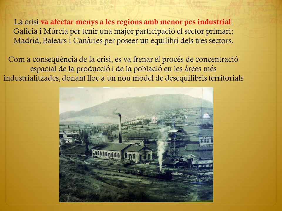La crisi va afectar menys a les regions amb menor pes industrial : Galicia i Múrcia per tenir una major participació el sector primari; Madrid, Balear