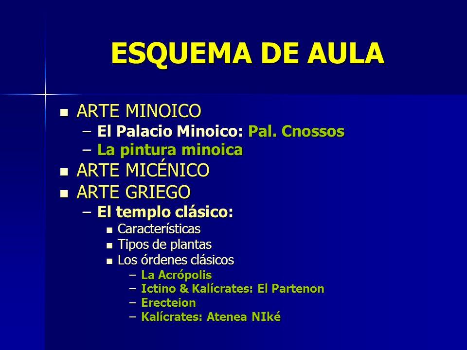 ESQUEMA DE AULA ARTE MINOICO ARTE MINOICO –El Palacio Minoico: Pal. Cnossos –La pintura minoica ARTE MICÉNICO ARTE MICÉNICO ARTE GRIEGO ARTE GRIEGO –E