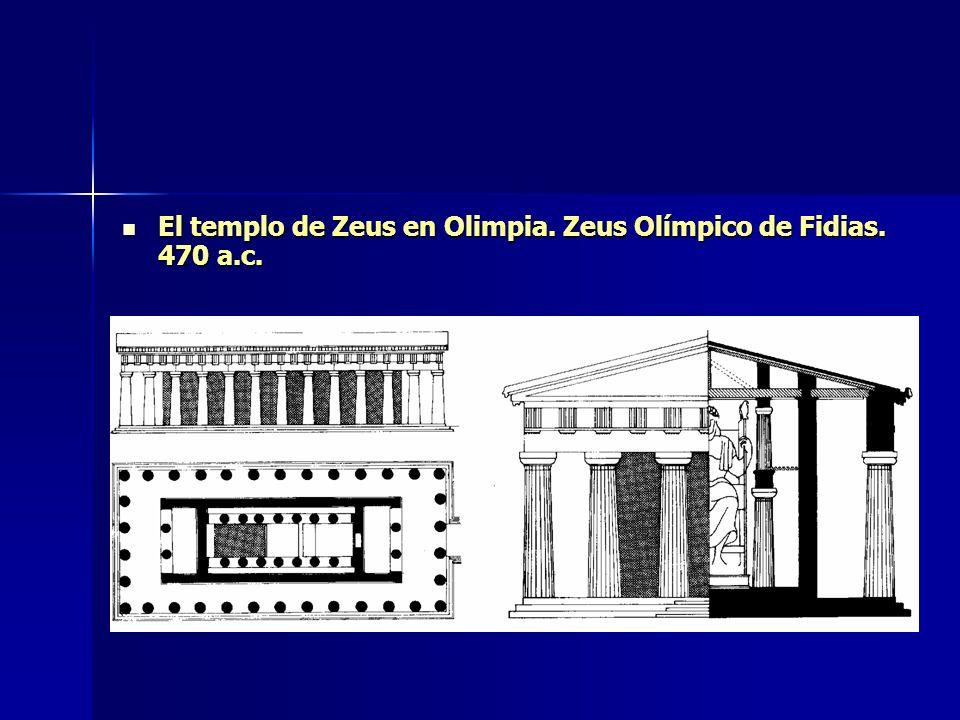 El templo de Zeus en Olimpia. Zeus Olímpico de Fidias. 470 a.c. El templo de Zeus en Olimpia. Zeus Olímpico de Fidias. 470 a.c.