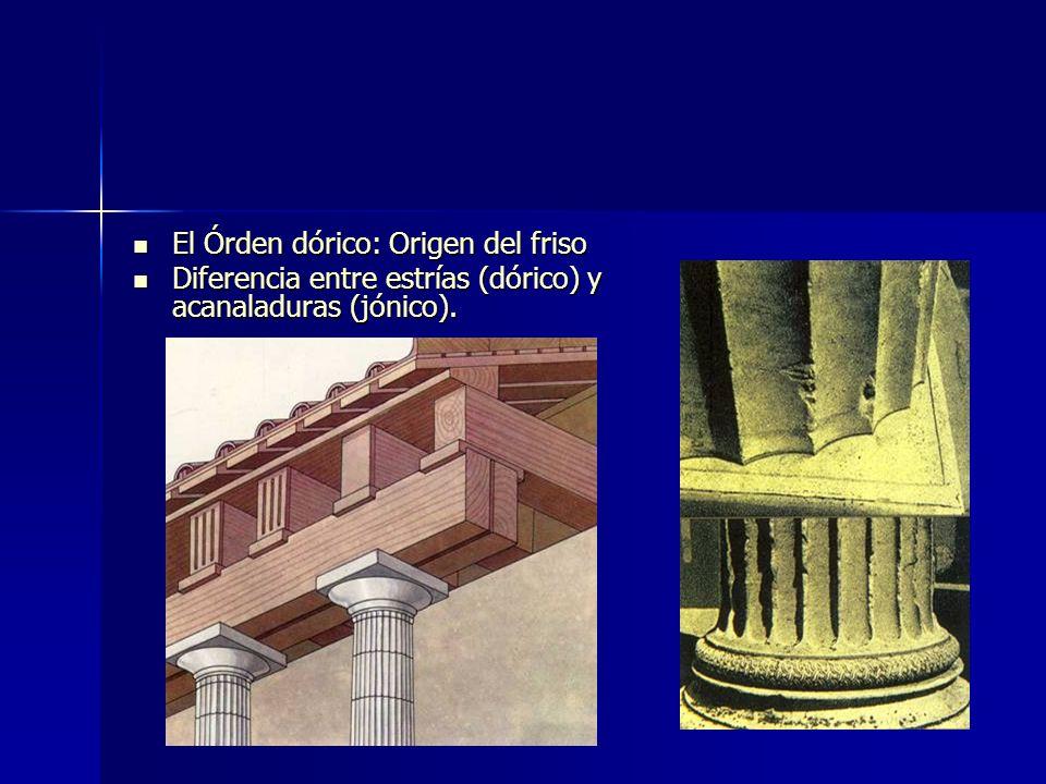 El Órden dórico: Origen del friso El Órden dórico: Origen del friso Diferencia entre estrías (dórico) y acanaladuras (jónico). Diferencia entre estría