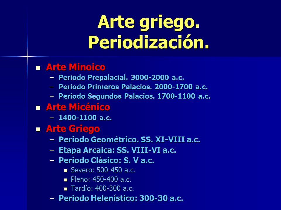 Arte griego. Periodización. Arte Minoico Arte Minoico –Periodo Prepalacial. 3000-2000 a.c. –Periodo Primeros Palacios. 2000-1700 a.c. –Periodo Segundo