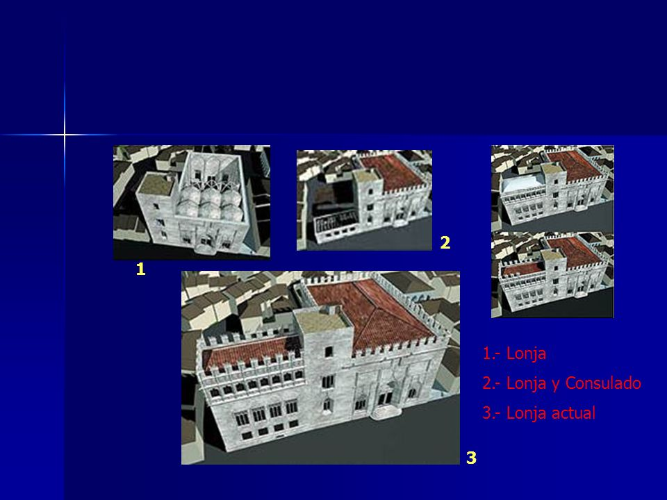 1 2 3 1.- Lonja 2.- Lonja y Consulado 3.- Lonja actual