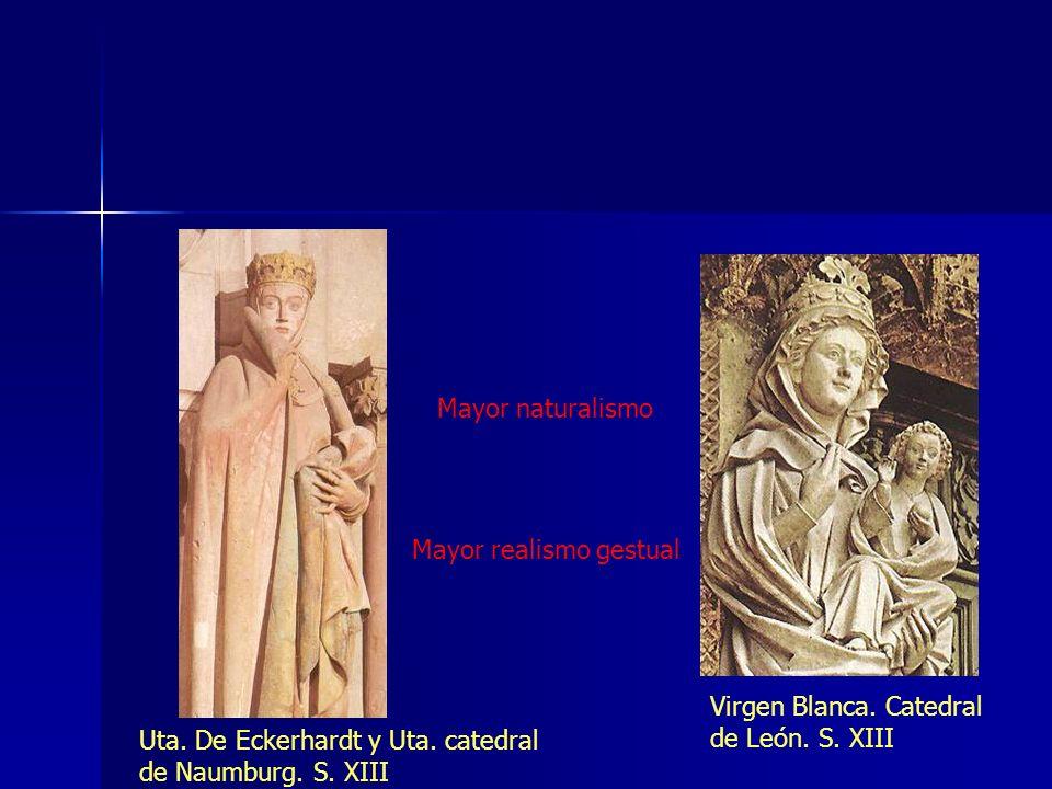Mayor naturalismo Mayor realismo gestual Virgen Blanca. Catedral de León. S. XIII Uta. De Eckerhardt y Uta. catedral de Naumburg. S. XIII