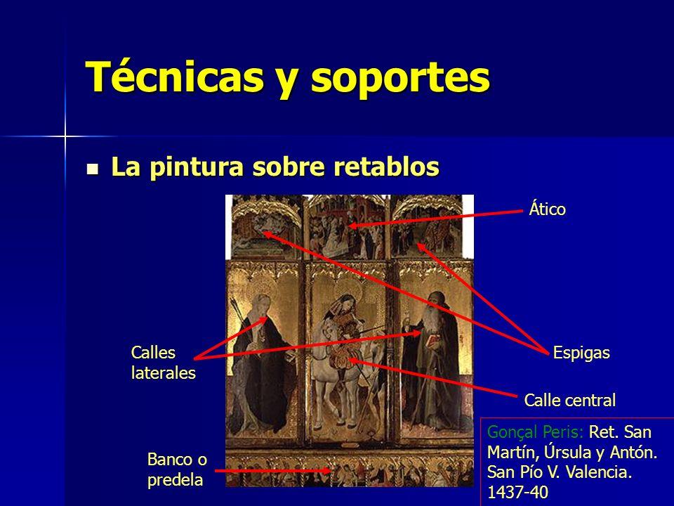 Técnicas y soportes La pintura sobre retablos La pintura sobre retablos Ático Espigas Calle central Calles laterales Banco o predela Gonçal Peris: Ret