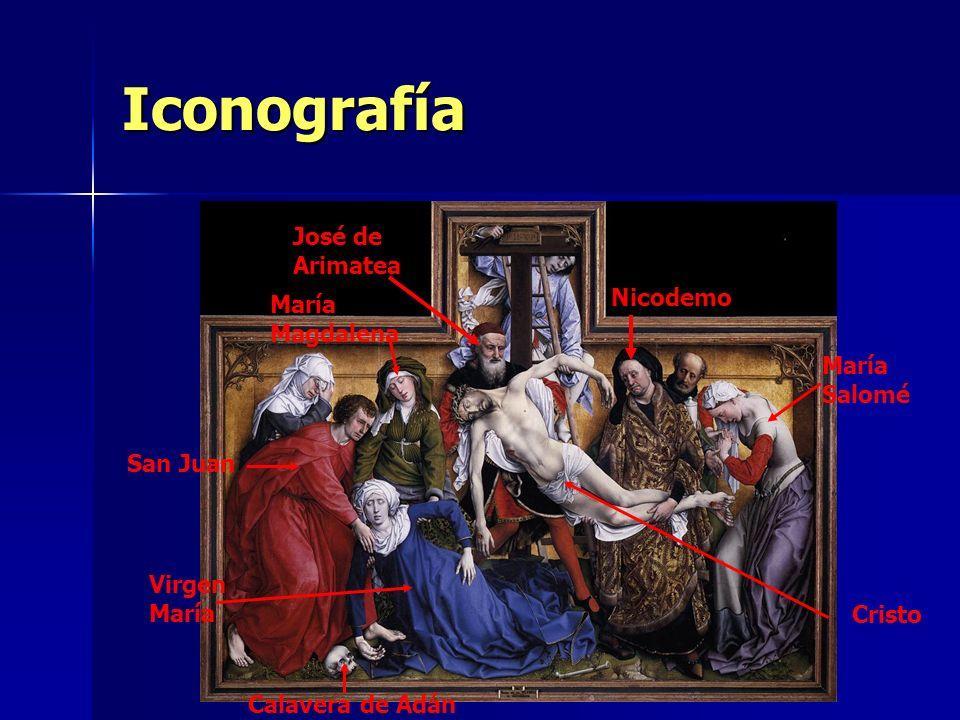 Iconografía José de Arimatea Nicodemo María Magdalena San Juan Virgen María Cristo María Salomé Calavera de Adán