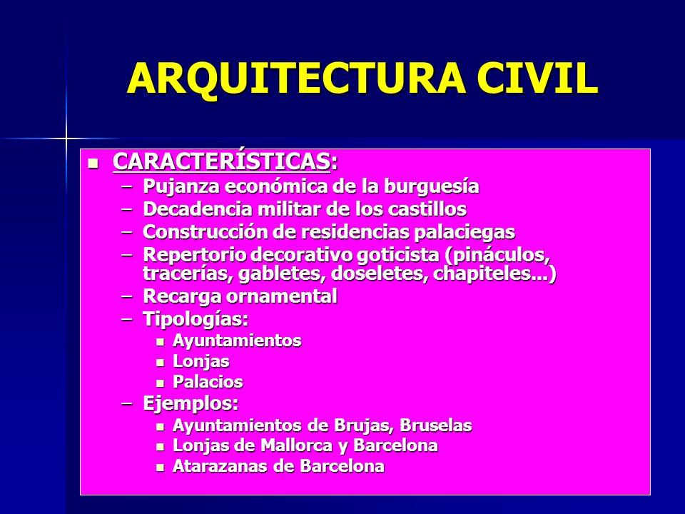 ARQUITECTURA CIVIL CARACTERÍSTICAS: CARACTERÍSTICAS: –Pujanza económica de la burguesía –Decadencia militar de los castillos –Construcción de residenc