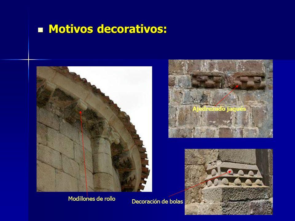 Motivos decorativos: Motivos decorativos: Ajedrezado jaqués Modillones de rollo Decoración de bolas